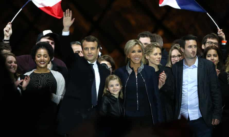 Emmanuel Macron celebrates his election victory in May.