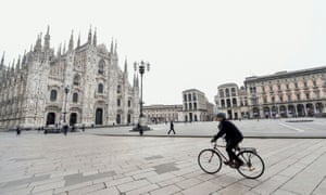 Milan, Italy. Duomo square is almost deserted after the government ordered a nationwide lockdown due to the spread of coronavirus