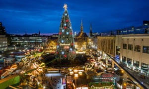 The world's largest Christmas tree made of 1700 red spruce and with a height of 45 meters, at the Christmas market in Dortmund, Germany.