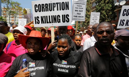 Protesters march against corruption in South Africa.