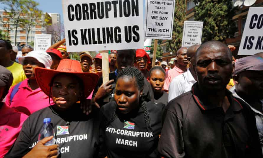 An anti-corruption march in Pretoria, where thousands of people protested against perceived corruption within the government.