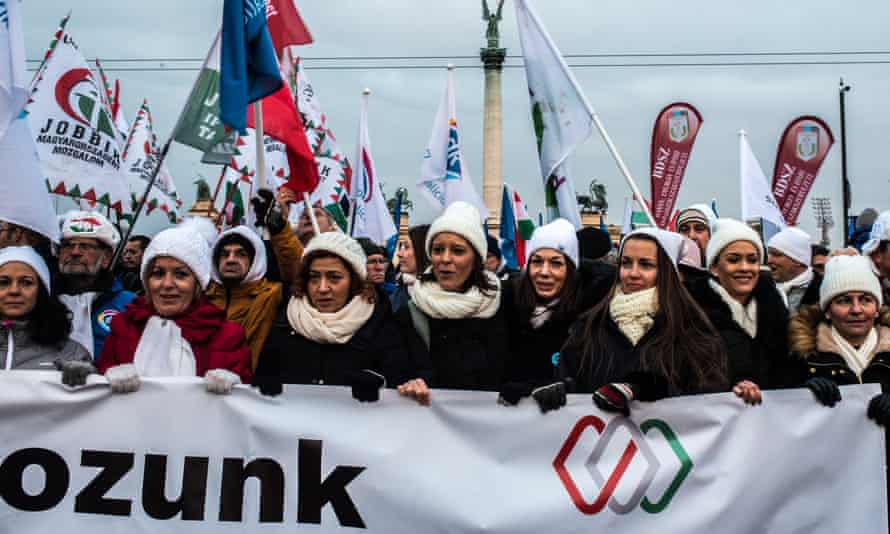 Women in Budapest march in protest against the exploitative changes to Hungary's labour laws masterminded by Viktor Orbán