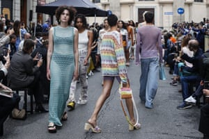 Milan, ItalyModels wear creations as part of the Marco Rambaldi 2021 women's spring-summer ready-to-wear collection during Milan fashion week
