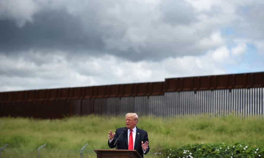 Donald Trump visits an unfinished section of the wall along the US-Mexico border in Pharr, Texas on 30 June 2021.