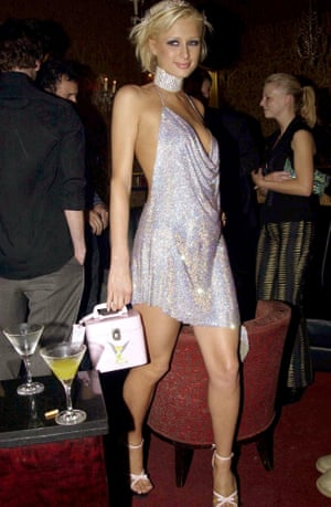 Paris Hilton in chainmail on her 21st birthday in London, 2002.