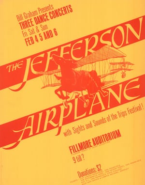 Peter Bailey, Jefferson Airplane, 1966'This is the first numbered Bill Graham poster, advertising Grace Slick's Jefferson Airplane at the Fillmore East in San Francisco. Graham was a hard-nosed businessman and saw that a lot of money could be made in rock promotions. This caused conflict with other Haight-Ashbury groups who felt that he should contribute more to the community. But the bands all made good money playing at his venues, and tolerated his tantrums because he was honest and provided good facilities. He presented most of the defining American acts of the 1960s and early 70s'