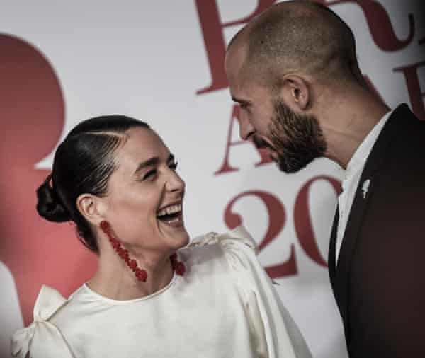Jessie Ware and husband Sam Burrows attend The BRIT Awards 2018 held at The O2 Arena on February 21, 2018