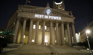 An image of Ginsburg is projected on to the New York state civil supreme court building in Manhattan after she died on 18 September 2020.