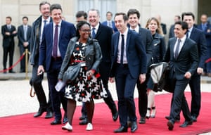 "Emmanuel Macron's team and Head of the public relations of the party's ""La Republique en marche"" (EMA) Sibeth Ndiaye, ""La Republique en marche"" (EMA) spokesman Benjamin Griveaux and General Secretary of the ""La Republique en marche"" (EMA) party Richard Ferrand arrive at the Elysee Presidential Palace for the handover ceremony between France's newly-elected President Emmanuel Macron and outgoing President Francois Hollande on May 14, 2017 in Paris, France"