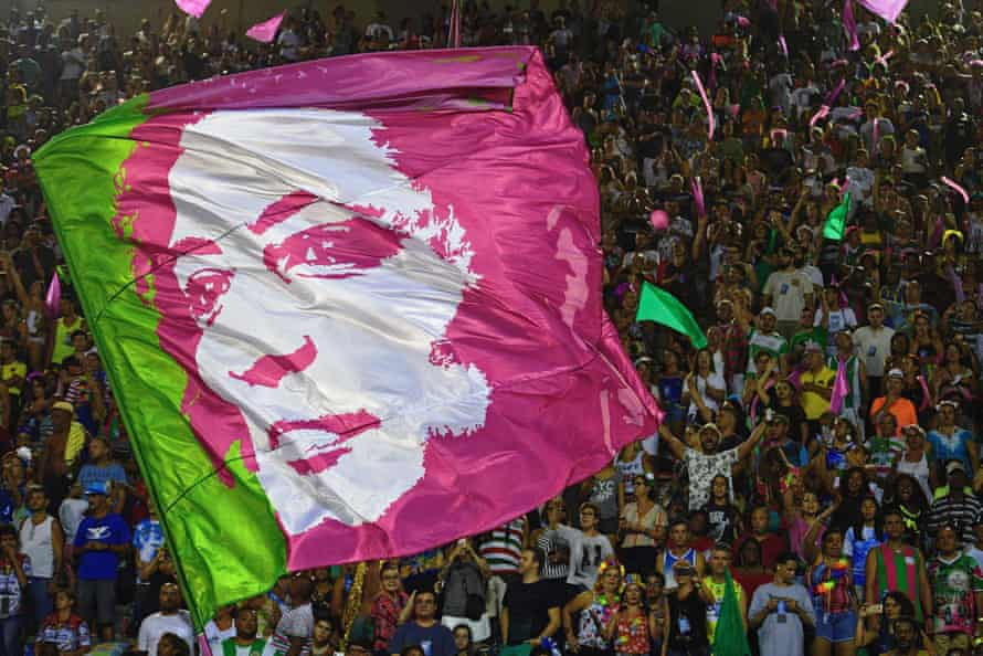 A flag depicting the image of Marielle Franco at Rio carnival