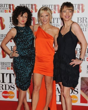 Power of three: from left, Annie Mac, Jo Whiley and Sara Cox, Brit Awards, 2011.