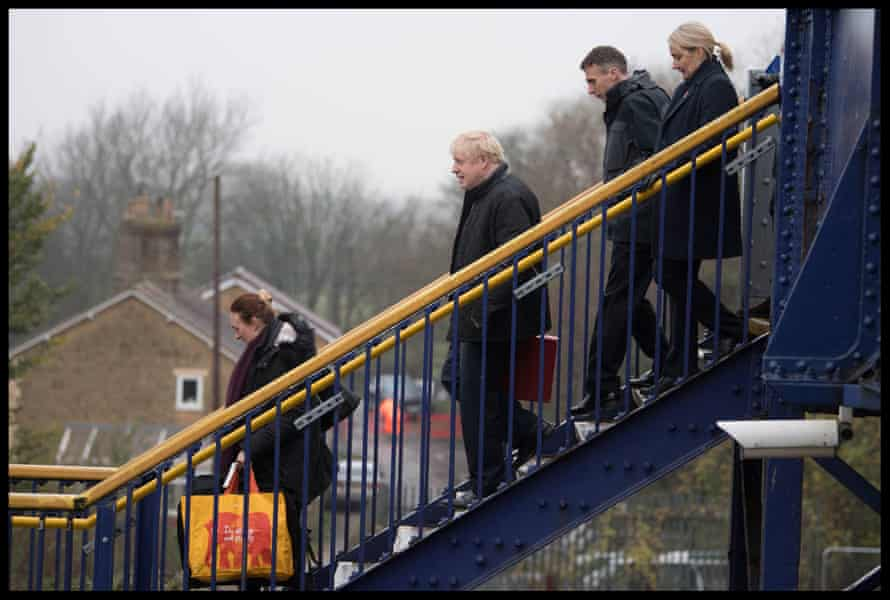 Johnson leaves the station at Castle Cary, Somerset, November 14