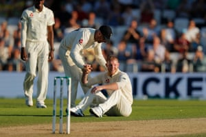 Ben Stokes is congratulated after dismissing Matthew Wade.
