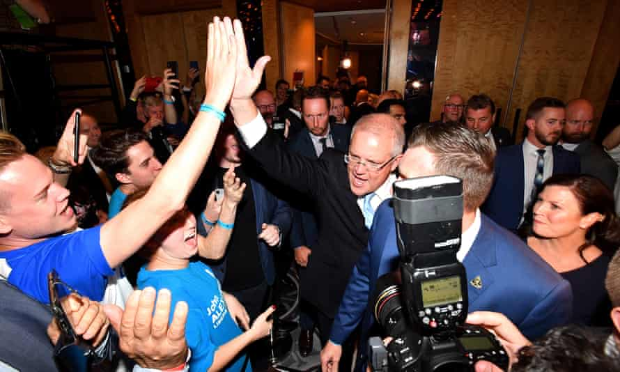Australian prime minister Scott Morrison (C) celebrates with supporters after winning the 2019 Federal Election, at the Federal Liberal Reception at the Sofitel-Wentworth hotel in Sydney, Australia, 18 May 2019.
