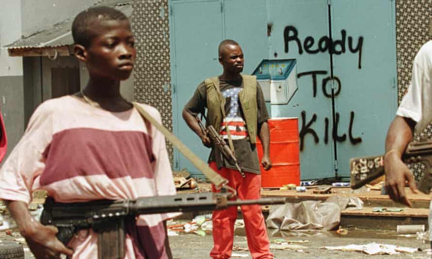 Child soldiers with the rebel faction Ulimo during the Liberian civil war.