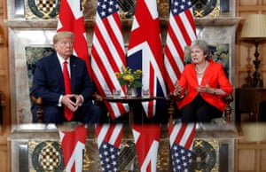 Donald Trump and Theresa May take their seats for the bilateral meeting at Chequers on Friday