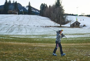 Bavaria, Germany. A lack of snow at the Alpspitzbahn ski resort in Nesselwang