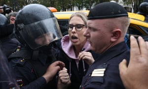 Lyubov Sobol detained by police during a restricted protest rally in Moscow in August.