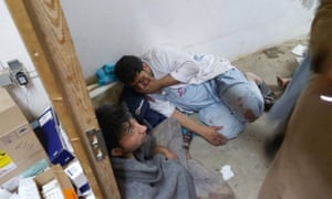 Injured Médecins Sans Frontières staff are seen after an airstrike struck their hospital in Kunduz.
