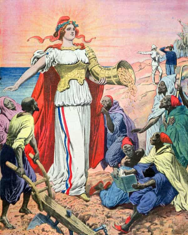 A 1911 illustration from Le Petit Journal depicting France as the benefactor of the people of Morocco.