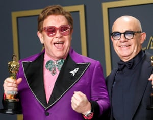Elton John and Bernie Taupin after their win earlier this month.