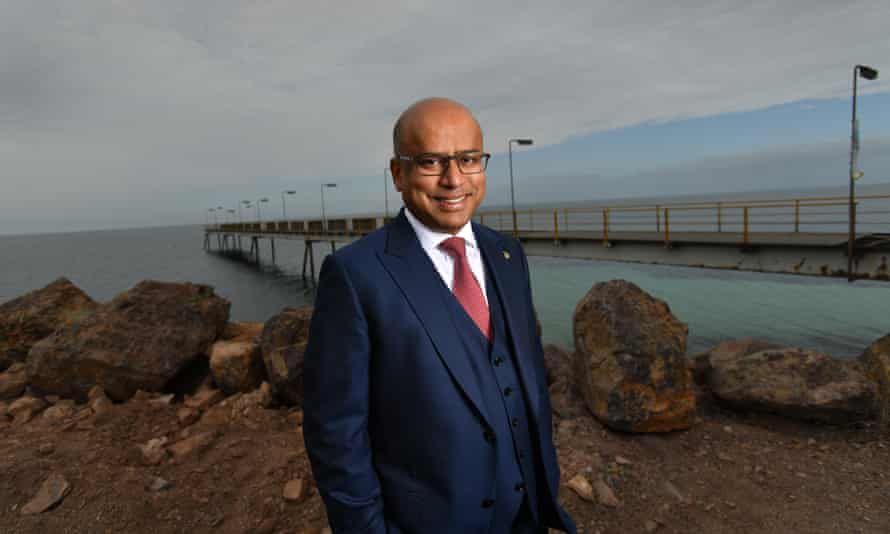 GFG Group executive chairman Sanjeev Gupta on the Whyalla Jetty in South Australia