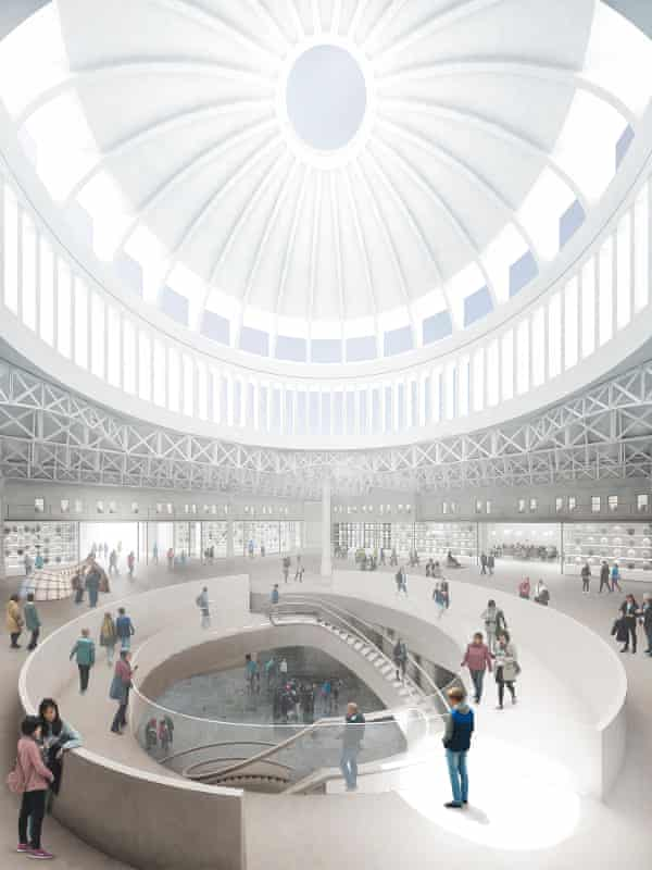 The 'traditionally grandiose' spiral escalator of Stanton Williams's concept, beneath a raised version of Smithfield's existing dome.