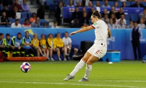 Lucy Bronze thumps in England's third goal.