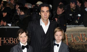 Nick Cave and his sons Arthur and Earl arrive at the Hobbit premiere in London in December 2012.