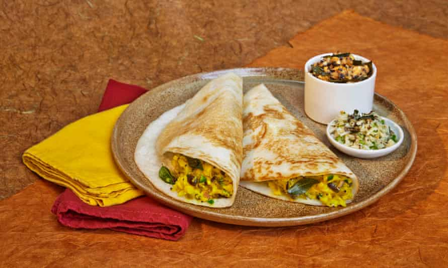 Vivek Singh's south Indian dosas with spiced potato filling and coconut and tomato chutneys