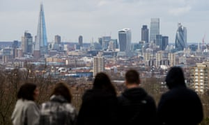A view of the London skyline, including the Shard, the Walkie Talkie, the Cheesegrater and the Gherkin