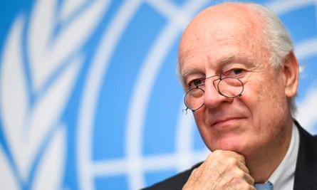 Staffan de Mistura attends a press conference on the eve of a sixth round of Syria peace talks at the United Nations office in Geneva.