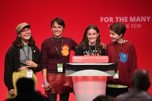 Young climate-crisis activists speak on stage during the Labour party conference on 24 September