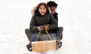 Isabela Merced and Shameik Moore in Let It Snow