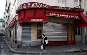 The shuttered Café des 2 Moulins in Montmartre, Paris