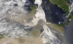 satellite image of a dust storm over the Mediterranean Sea in May 2016.