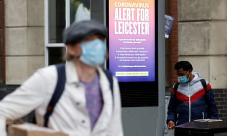 An NHS alert message in Leicester, 1 July 2020