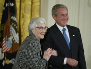 Harper Lee with President George Bush at the White House in November 2007, when she was awarded The Presidential Medal of Freedom for her contribution to literature.