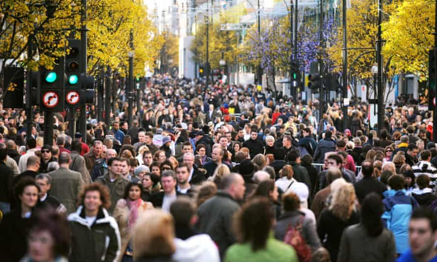 Crowds on Oxford Street in central London