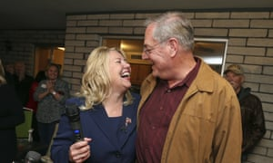 Debbie Lesko celebrates with her husband, Joe, after voting results show her victory in a special primary election for the seat.