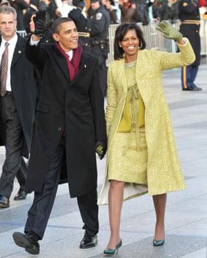 Michelle and Barack Obama at the inaugural parade on 20 January 2009, Washington DC.