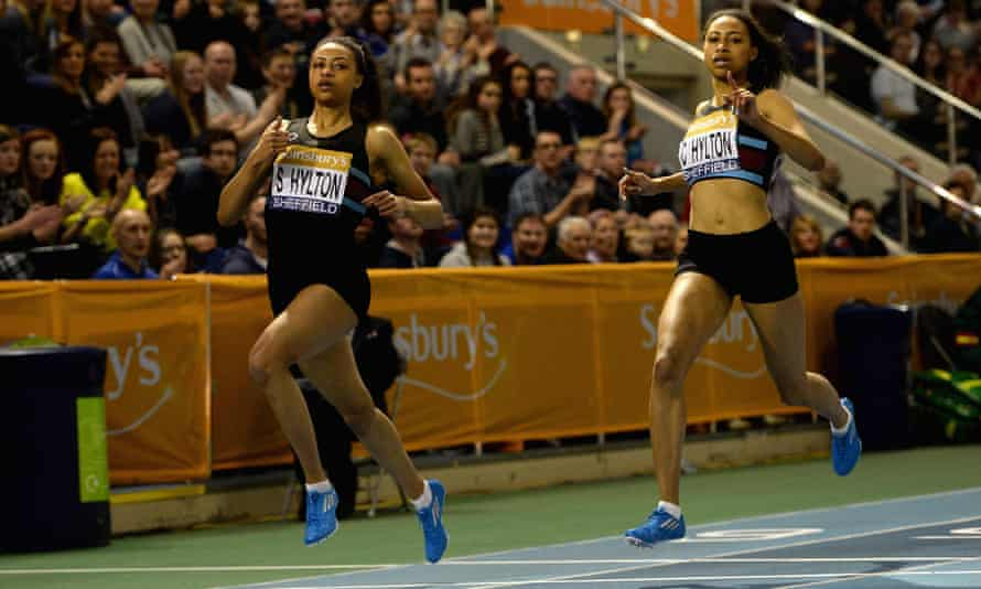 Shannon Hylton just beating sister Cheriece Hylton to the gold in the womens 200 metres during the Sainsbury's British Athletics Indoor Championships at English Institute of Sport on February 15, 2015 in Sheffield, England