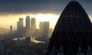 Sunrise over City of London