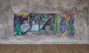 The Caged Bird's Song … Chris Ofili's tapestry, flanked by a frieze of dancers by the Royal Opera House's scenic painters.
