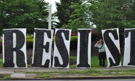 Resist: a sign made by the Redneck Revolt group in Harrisburg.