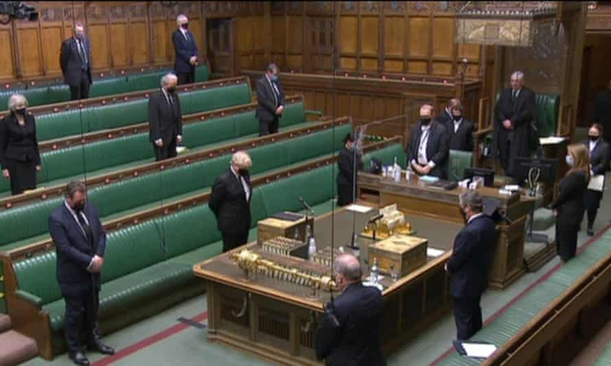 Boris Johnson, Keir Starmer and MPs silent in Commons