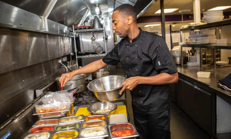 Chef Charles Johnson preparing Medleys' takeaway meals for delivery.