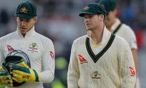 Steve Smith (right) and Australia captain Tim Paine in deep conversation after the dismissal of England's Joe Denly.