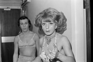 """Drag artists in Salford, c.1976 – Linder Sterling """"A spellbinding shot from Linder Sterling's collection 'We are the kind of people who know the value of time'. It was taken in a pub in Salford that Linder can't remember the name of. I love their startled expressions – as though they've been papped."""""""
