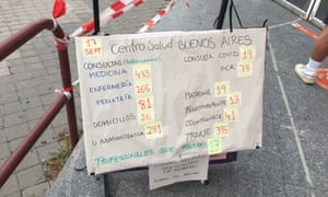 A sign outside the Buenos Aires health centre in Madrid on Friday.